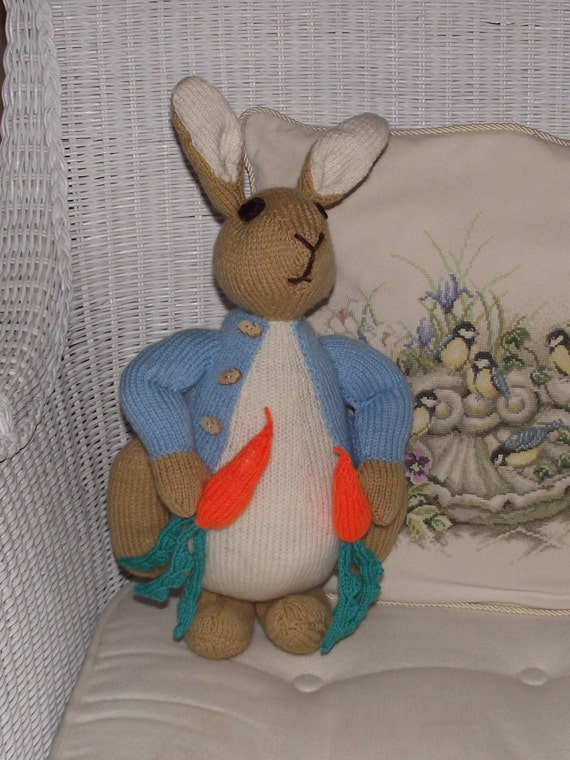 Hand Knitted Beatrix Potter character Peter Rabbit / bunny