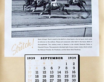"1939 Sports Calendar ""Hewitt Rubber Products for Industry"":  (24"" Long  X  16"" Wide)"