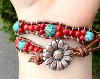 Turquoise and Coral Double Wrap Leather Bracelet With Flower Button