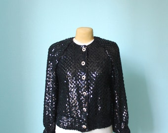 vintage 1980s black sequined sweater // glam // size 8 // large
