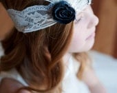 The Buchanan Headband: Feather and pearl headband for flower girls - 1920's wedding headband - lace flower girl headband