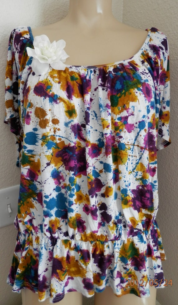 Top, Shirt, Blouse, Womens Clothing, Short Sleeve top, Fall  top, Artist Canvas Upcycled Suzy Qs Original, 100% Cotton T, Womens Fall Shirt