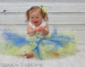 Tutu ,Yellow and Blue, Down Syndrome Awareness, T21 awareness, ds tutu, changing the face of beauty, buddy walk tutu