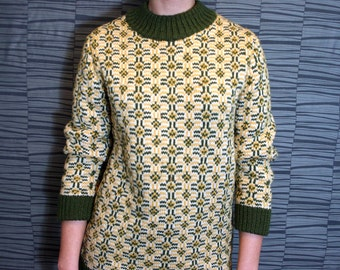 Vintage Handmade Unisex Kaleidoscopic Pattern Knit Sweater