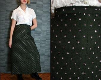 Vintage Dark Olive Green Brocade Maxi Skirt