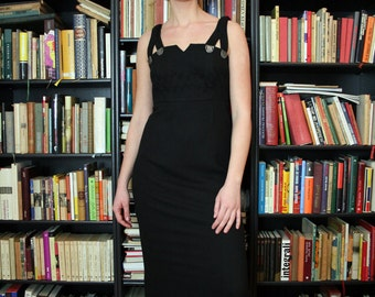 Vintage Black Sleeveless Maxi Dress with Embroidery and Coin Buttons
