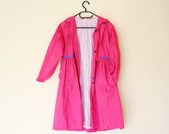 Girls Pink 80s Vintage Hooded Trench Coat