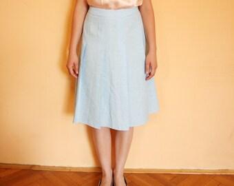 Vintage Powder Blue Pleated Midi Skirt