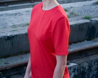 Vintage 80s Red Blouse With Shoulder Pads