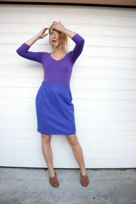 Blue Vintage High Waist Pencil Skirt