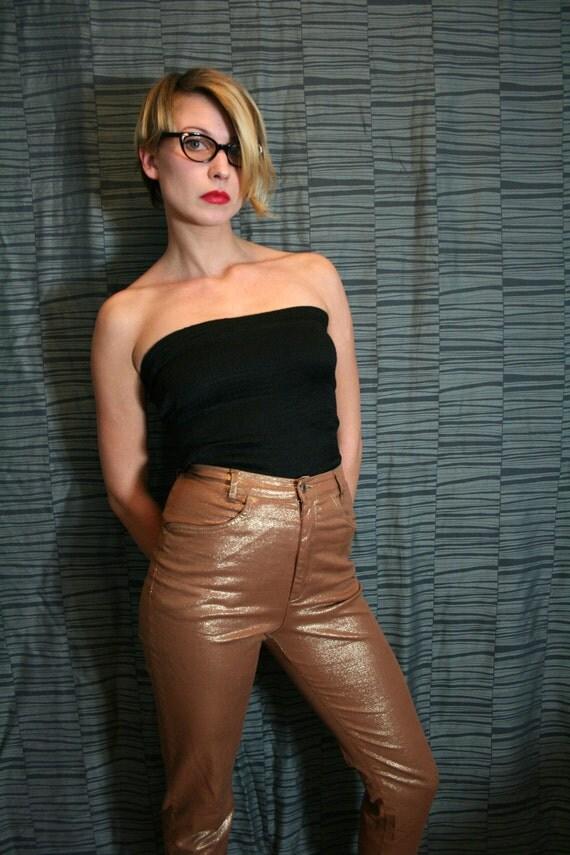 Vintage Shimmery Golden Brown High Waist Tapered Pants