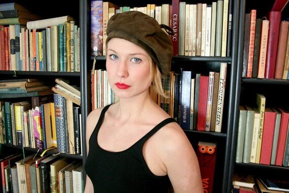 Vintage Brown Suede Beret Hat