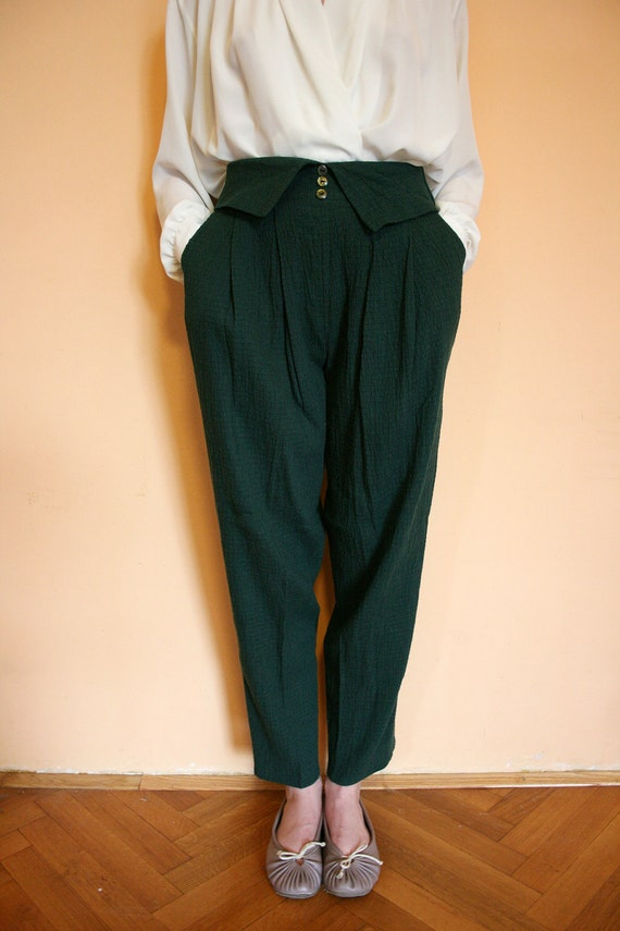 Vintage Crinkled Forest Green Fold Over High Waist Tapered Preppy Pants