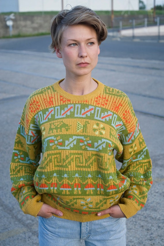 Vintage Abstract Mixed Print Unisex Sweater