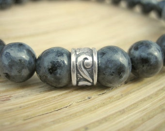 Mens Celtic Bracelet - Larvikite Bracelet for Men with Silver Celtic Bead, Black Moonstone, Blue Grey Stone