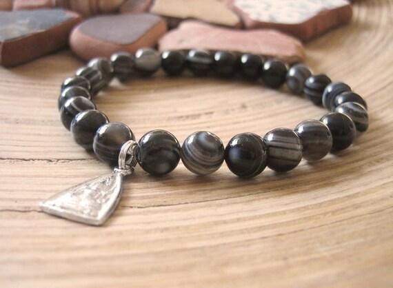 Mens Buddha Bead Bracelet - Black and White Banded Agate and Buddha Charm, Thai Meditation Prayer Beads, Zen
