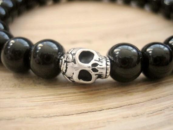 Mens Skull Bracelet - Black Onyx Bracelet, Silver Plated Skull with Black Beads, Rockstar Black Beaded Bracelet, Mens Gift