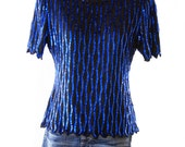 Steinay - Sequin Top Bright Blue and Super Cute - Size Small