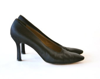 YSL - Black  Satin High Heels  - Size 7 - Yves Saint Laurent