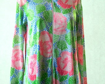 Retro Loungewear - Pink Blue and Green - FarrWest for Joseph Magnin - Size Small