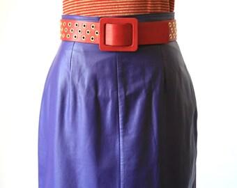 Vintage Purple Leather Pencil Skirt - Size 2/4