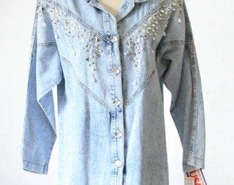 Studded Rhinestone Jean Shirt - 80s fantastic - Size Med-Large