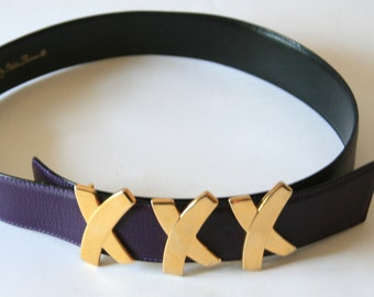 Vintage XXX Paloma Picasso - Belt - Purple Leather - Size Small