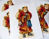 Retro Santa Claus Red Postcard Set - Set of 4 cards - 5-1/2 X 4-1/4