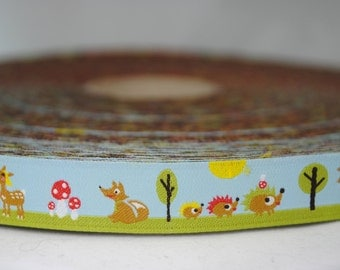 """Woodland Creatures Farbenmix Woven Ribbon - 2 Yards - 5/8"""" wide"""
