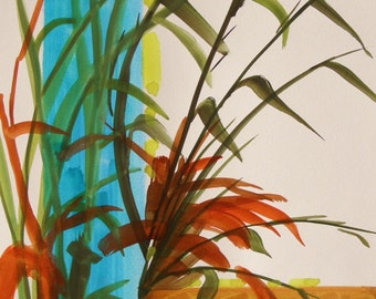 SALE Exotic Display  Original Watercolor Plant Painting John Williams JMW art JMWPORTFOLIO Expressionism