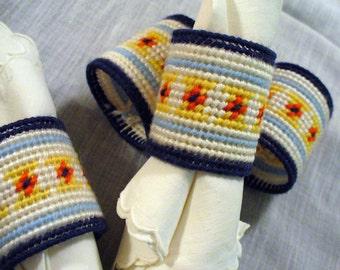 Vintage Handmade Blue White Orange Yellow Needlepoint Napkin Rings set of 4