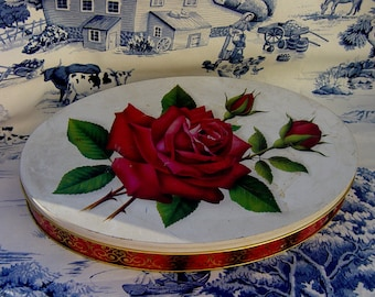 Vintage Candy Tin Red Rose Oval Metal Tin Container  Shabby Chic