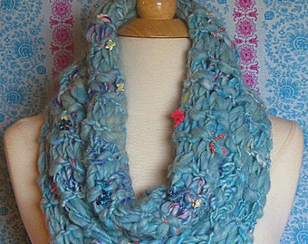 Mermaid Dream Cowl/Scarf/Turquoise/Capelet - Unique Wearable Art
