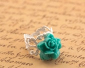 Turquoise Flower Ring, Patina White Ring, Victorian Ring, Shabby Chic Ring, Turquoise Ring, Adjustable Ring, Romantic Gift For Her, Flower