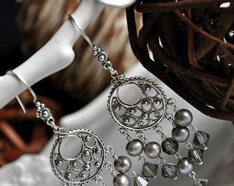 Silver Ice Chandelier Earrings