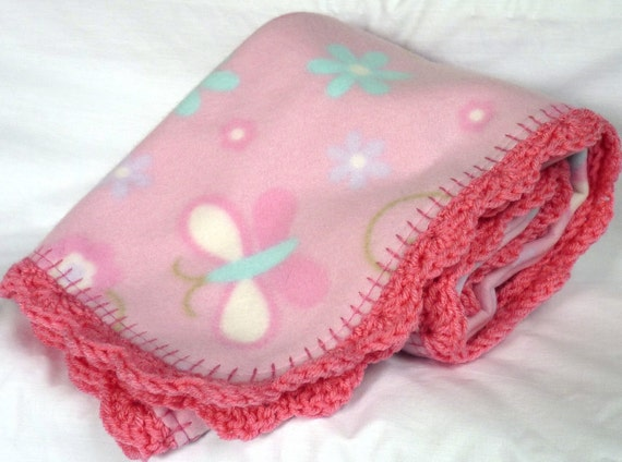 baby girl fleece blanket with crochet edging by CrochetByJamie