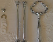 Cake Stand Handle 3 Tier Silver Clover Centre Fitting / Hardware High Tea