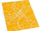 Birmingham, AL Map Art City Print / UAB University Wall Art / 8x10 / Personalized colors