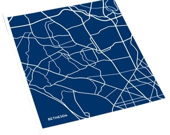 Bethesda City Art Print / Maryland Line Map Wall Art  / 8x10 Digital Print / Choose your color