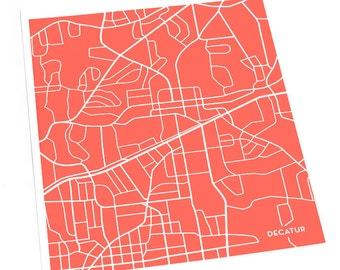 Decatur, GA City Map Art Print / Emory University Wall Art Poster / 8x10 / Personalized colors