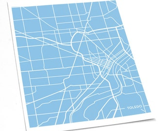 Toledo Ohio City Map Digital Print / University College Art Line Map / 8x10 / Personalized colors