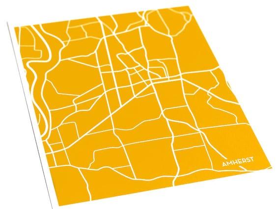 Amherst City Map Digital Print / University of Massachusetts Grad Gift Wall Art / 8x10 / Personalized colors