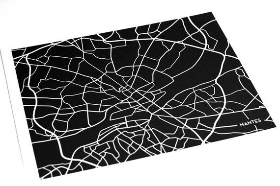 Nantes City Map Art Print / France Map Wall Art Poster Line Drawing / 8x10 Digital Print / Choose your color