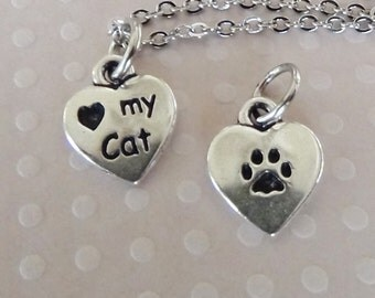 LOVE My CAT Necklace - Pewter Charm on a FREE Plated Chain