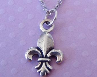 FLEURS de LIS Necklace - Pewter Charm on a FREE Plated Chain