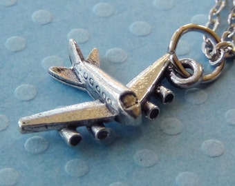 JET AIRPLANE Necklace - Pewter Charm on a FREE Plated Chain