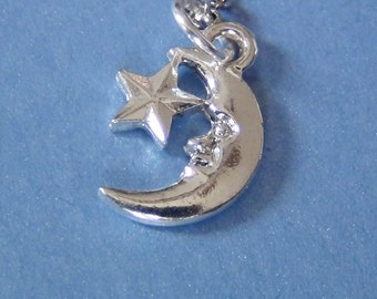MOON with STAR Necklace - Pewter Charm on a FREE Plated Chain