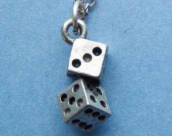 PAIR of DICE Necklace - Pewter Charm on a FREE Plated Chain