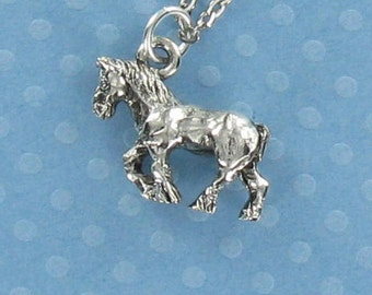 CLYDESDALE HORSE Necklace - Pewter Charm on a Free Plated Chain