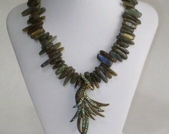 Golden Bird Labrodite Necklace